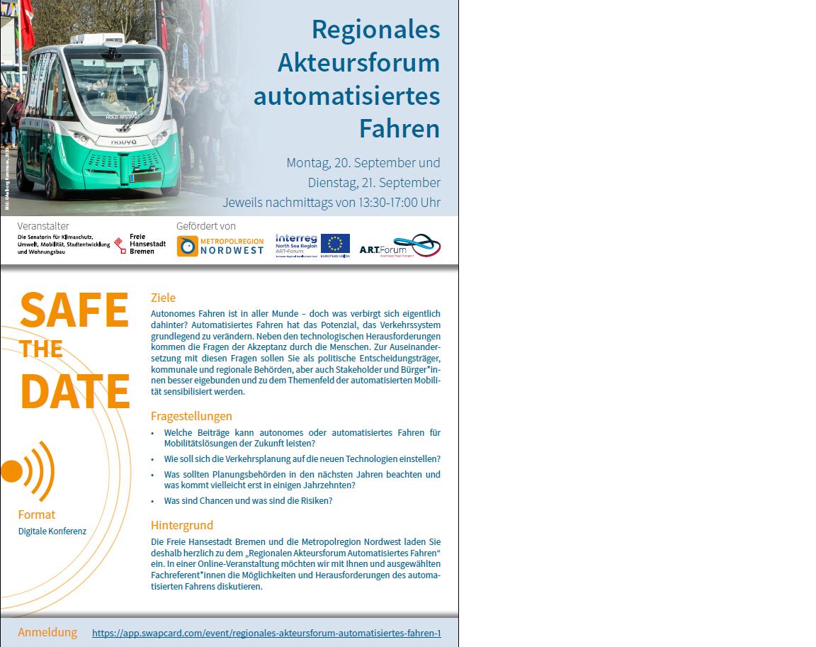 Save the Date regionales Akteursforum automatisiertes Fahren©Metropolregion Nordwest