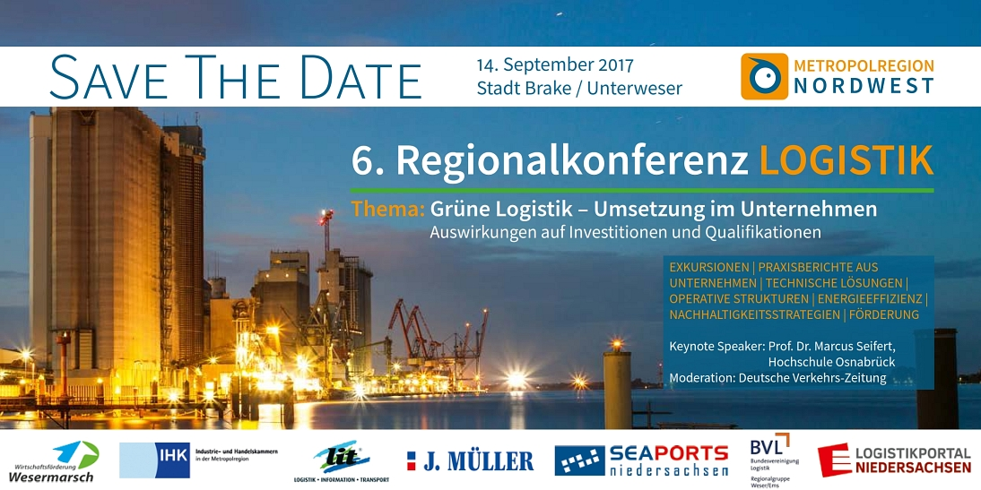 Save the Date Regionalkonferenz Logistik 2017 © Metropolregion Nordwest